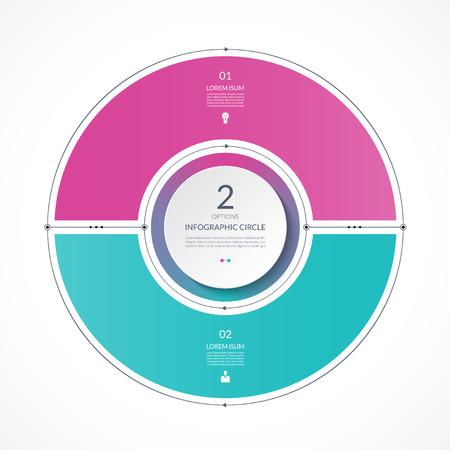Cerchio di infografica in stile piatto sottile linea. Modello di presentazione aziendale con 2 opzioni, parti, passaggi. Può essere utilizzato per il diagramma del ciclo, grafico, grafico rotondo.