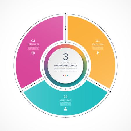 Cerchio di infografica in stile piatto sottile linea. Modello di presentazione aziendale con 3 opzioni, parti, passaggi. Può essere utilizzato per il diagramma del ciclo, grafico, grafico rotondo.