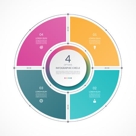 Círculo de infografía en el estilo de línea delgada plana. Plantilla de presentación de negocios con 4 opciones, partes, pasos. Puede ser utilizado para el diagrama de ciclo, gráfico, tabla redonda. Ilustración de vector