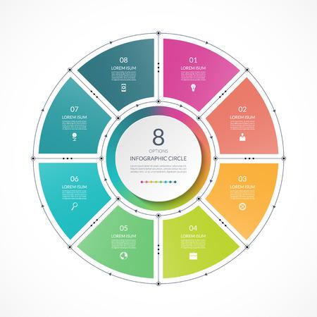 Cercle de l'infographie dans un style plat de fine ligne. Modèle de présentation d'entreprise avec 8 options, pièces, étapes. Peut être utilisé pour un diagramme cyclique, un graphique, un diagramme circulaire. Banque d'images - 90296858