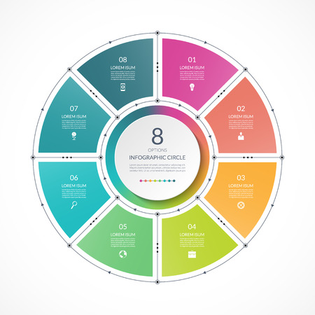 Infographic circle in thin line flat style. Business presentation template with 8 options, parts, steps. Can be used for cycle diagram, graph, round chart. Иллюстрация