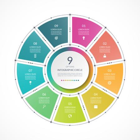 Círculo de infografía en estilo plano de línea fina. Plantilla de presentación de negocios con 9 opciones, partes, pasos. Puede ser utilizado para diagrama de ciclo, gráfico, tabla redonda.
