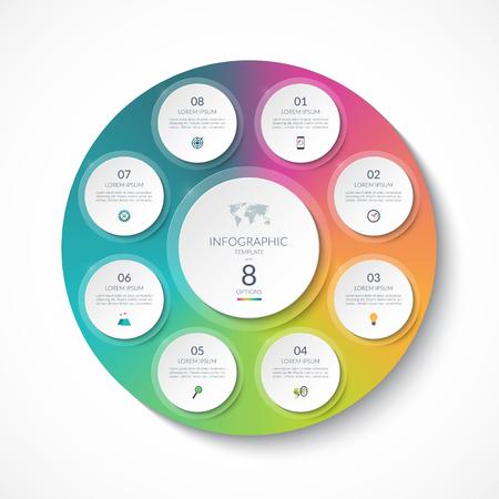 Infographic sjabloon met 8 cirkels, opties, stappen, delen. Kan worden gebruikt voor diagram, grafiek, grafiek, brochure, jaarverslag, bedrijfspresentatie