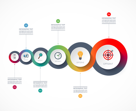 Timeline infographics. Business growth concept. Vector banner with 6 options.  イラスト・ベクター素材
