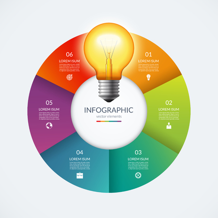 Infographic circle with glowing lightbulb. Creative idea concept with 6 options, steps, parts. Illustration