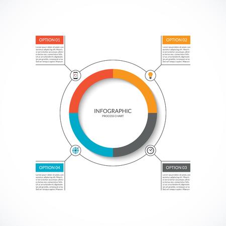 Diagrama del ciclo de información gráfica. Tabla de proceso con 4 opciones. Plantilla de círculo de vector para información-gráficos de negocios. Se puede utilizar para gráficos, presentaciones, informes, opciones de pasos, diseño web.