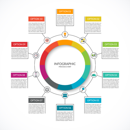 Info-graphic cycle diagram. Process chart with 10 options. Vector circle template for business info-graphics. Can be used for graph, presentation, report, step options, web design.
