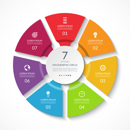 Infographic circle. Process chart. Vector diagram with 7 options. Can be used for graph, presentation, report, step options, web design.