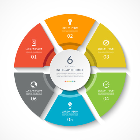 Infographic circle. Process chart. Vector diagram with 6 options. Can be used for graph, presentation, report, step options, web design. Çizim
