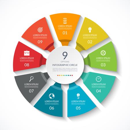 Cercle d'infographie. Diagramme de processus. Diagramme vectoriel avec 9 options. Peut être utilisé pour le graphique, la présentation, le rapport, les options d'étape, la conception Web. Vecteurs