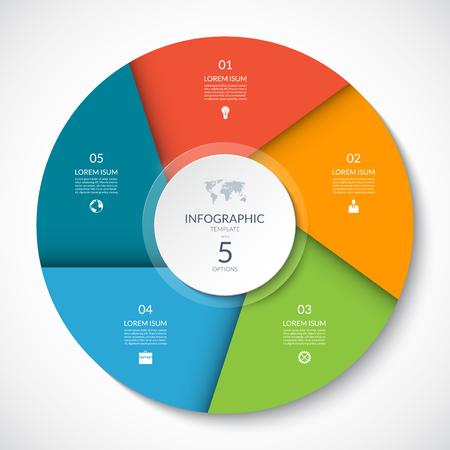 Cerchio grafico per infografica. Diagramma vettoriale con 5 opzioni. Può essere utilizzato per grafico, presentazione, report, opzioni di passaggio, web design. Vettoriali