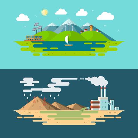 Ecología, medio ambiente, contaminación de la naturaleza, energía verde, vida ecológica, emisiones, ilustraciones del concepto de conservación del planeta en estilo de diseño plano.