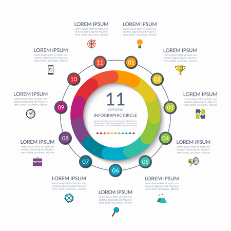 Infographic circle. 11 options, steps, parts. Business concept for diagram, graph, chart. Vector template  イラスト・ベクター素材