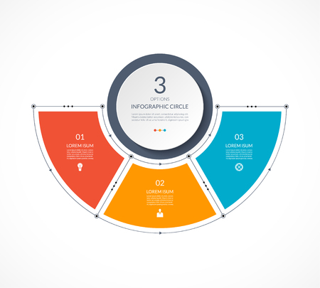 Infographic semi circle in thin line flat style. Business presentation template with 3 options, parts, steps. Can be used for cycle diagram, graph, round chart.