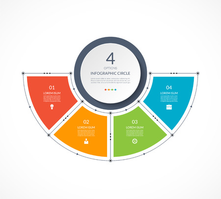 Infographic semi circle in thin line flat style.