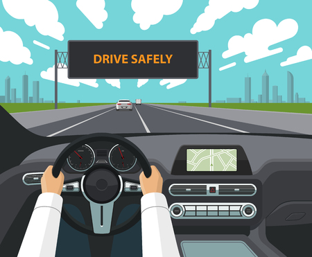 Drive safely concept. Vector illustration