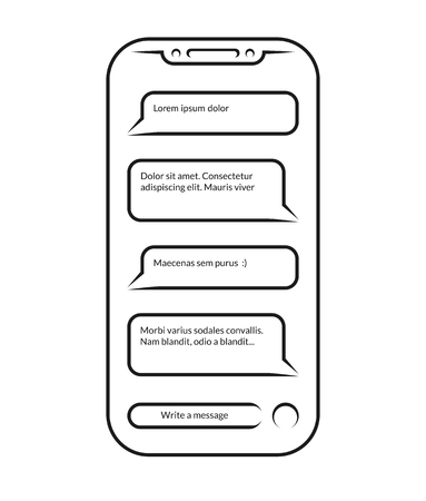 Chatting and messaging. Vector outlined icon of smartphone with opened messenger app window isolated on white background. Contour of cell phone with chat message notifications. Social network concept.