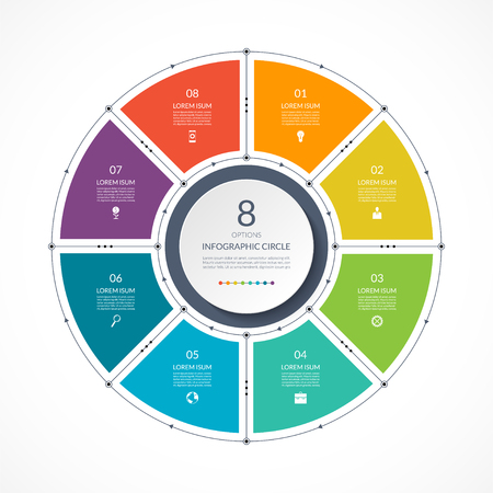 Infographic circle in thin line flat style. Business presentation template with 8 options