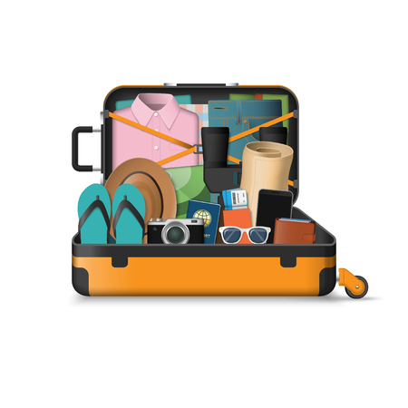 Open suitcase packed for travel. Vektoros illusztráció