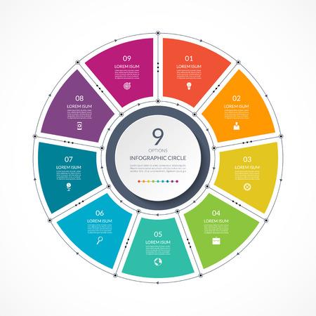 얇은 선 플랫 스타일의 인포 그래픽 원. 9 가지 옵션이있는 비즈니스 프리젠 테이션 템플릿