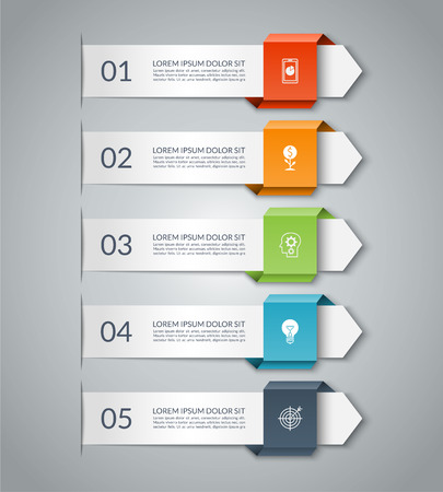 Business infographic arrow template with 5 options