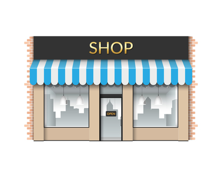 Shop front. Store with empty showcase. Vector illustration isolated on white background