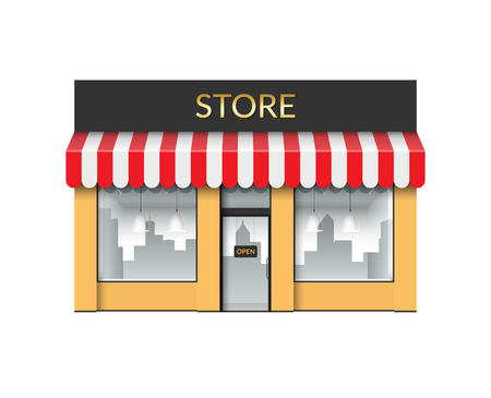 Store front. Shop with empty showcase. Vector illustration isolated on white background Illusztráció