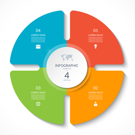 Infographic circle chart. Vector cycle diagram with 4 options. Can be used for graph, presentation, report, step options, web design.