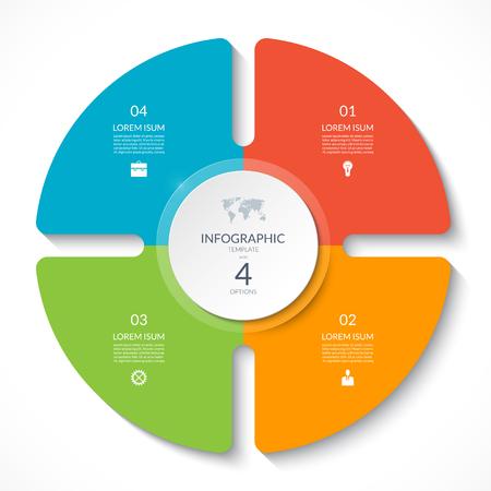 Grafico a cerchio infografica. Diagramma del ciclo vettoriale con 4 opzioni. Può essere utilizzato per grafici, presentazioni, report, opzioni di passaggio, web design.