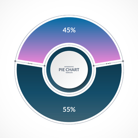 Infographic pie chart circle in thin line flat style. Share of 45 and 55 percent. Vector illustration