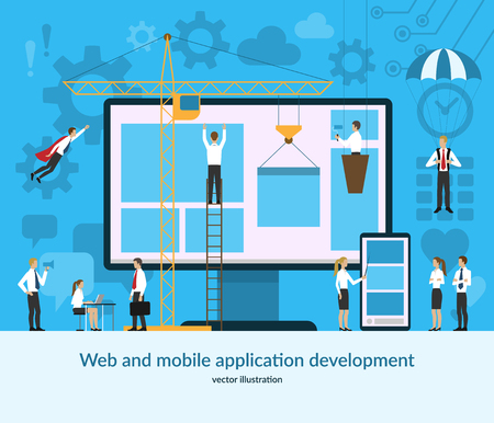 Web and mobile application development concept. Vector illustration in flat style. Ilustração Vetorial