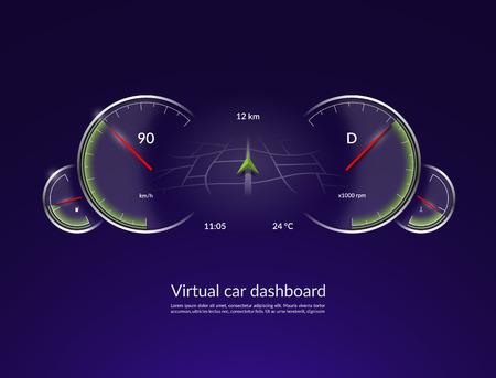 Concept de tableau de bord de voiture virtuelle. Interface de véhicule HUD avec mode de navigation. Illustration vectorielle