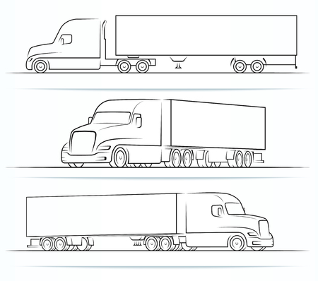 Amerikanische LKW-Silhouetten, Umrisse, Konturen Vektorgrafik
