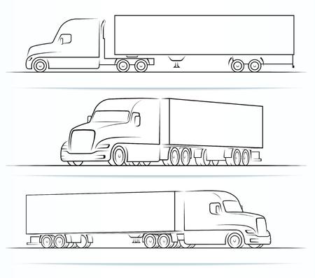 Siluetas de camiones estadounidenses, contornos, contornos Ilustración de vector