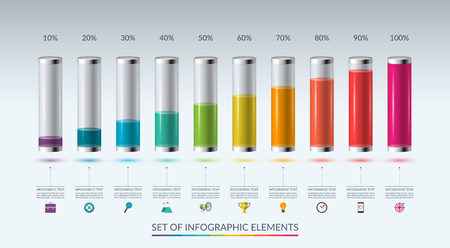 Set of infographic elements for graph, chart or diagram in the form of glass flasks filled with colored liquid. Vector illustration Ilustrace