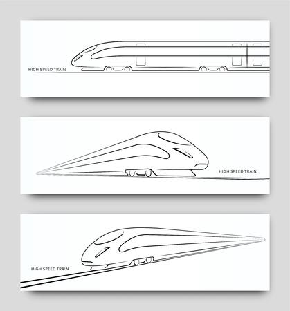 Tren de alta velocidad abstracto en movimiento. Conjunto de siluetas de trenes modernos, contornos, contornos aislados sobre fondo blanco. Vista lateral y en perspectiva. Ilustración vectorial Ilustración de vector