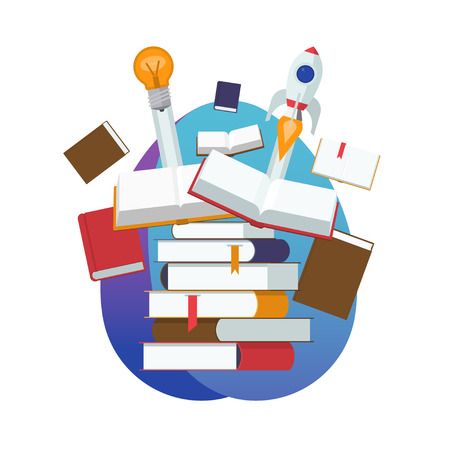 Pile of open and closed books. Start of a new idea via learning, education, knowledge. Flat design vector illustration Illustration