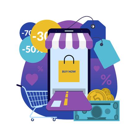 Compras en línea a través de un teléfono inteligente. Marketing móvil, concepto de comercio electrónico en estilo plano. Ilustración vectorial