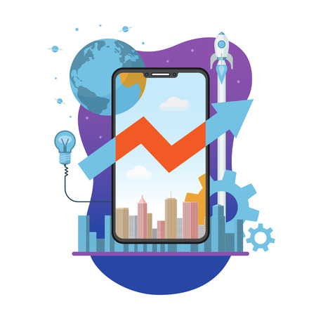 Mobile app creation, launch and development concept. New internet business project start up. Flat design vector illustration
