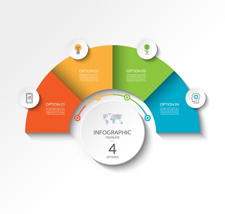 Plantilla de semicírculo de infografía empresarial con 4 opciones. Se puede utilizar como gráfico, diseño de flujo de trabajo, diagrama, visualización de datos, banner web minimalista.