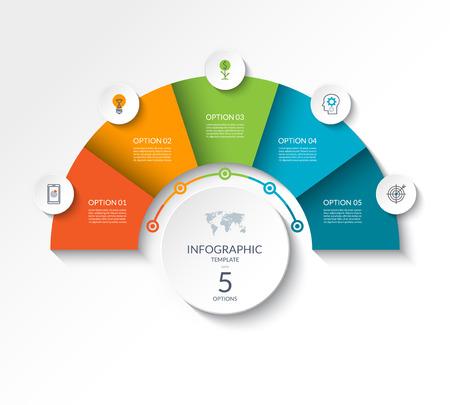 Business-Infografik-Halbkreisvorlage mit 5 Optionen. Kann als Diagramm, Workflow-Layout, Diagramm, Datenvisualisierung, minimalistisches Webbanner verwendet werden.