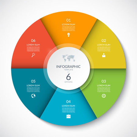 Vector infographic cirkel. Cyclusdiagram met 6 opties. Kan worden gebruikt voor grafiek, grafiek, rapport, presentatie, webdesign. Vector Illustratie
