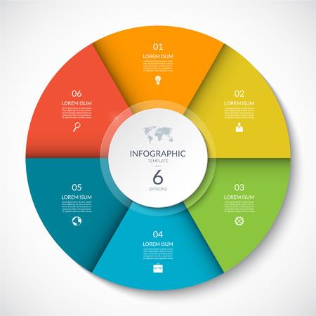 Wektora infographic koło. Schemat cyklu z 6 opcjami. Może być używany do wykresów, wykresów, raportów, prezentacji, projektowania stron internetowych. Ilustracje wektorowe