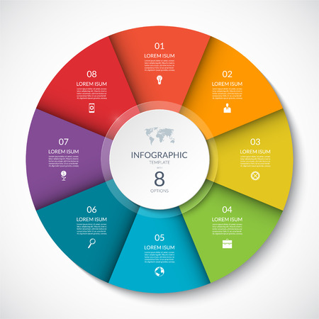 Vector infographic circle. Cycle diagram with 8 options. Can be used for chart, graph, report, presentation, web design.