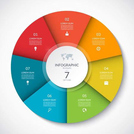 Cercle d'infographie de vecteur. Diagramme de cycle avec 7 options. Peut être utilisé pour les graphiques, graphiques, rapports, présentations, conception de sites Web