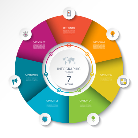 Diagrama de flujo de infografía circular. Círculo de diagrama de proceso o gráfico circular con 7 opciones, partes, segmentos. Bandera del vector