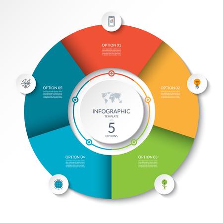 Circulaire infographic stroomschema. Procesdiagram cirkel of cirkeldiagram met 5 opties, onderdelen, segmenten. Vector banner Stockfoto