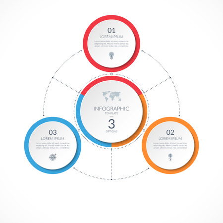 Infographic circle with 3 options. Can be used for graph, diagram, chart, presentation, report, web design. Vector illustration
