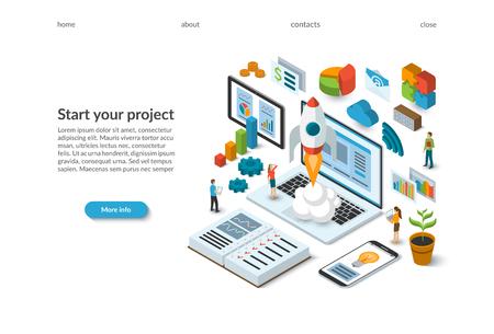 Isometrisches Konzept für die Unternehmensgründung. Raketenstart vom Laptop. Vorlage für die Zielseite. Flaches Design 3D-Vektor-Illustration eines Teams, das an einem neuen Projekt arbeitet.
