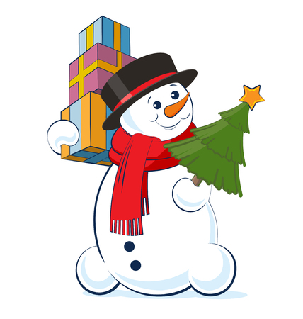 Christmas snowman wearing a top hat and scarf holding in hands a pile of gifts and xmas tree. Vector illustration isolated on white background